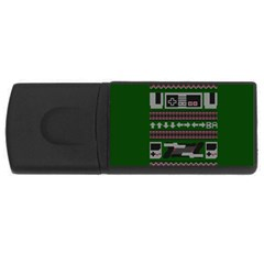 Old School Ugly Holiday Christmas Green Background Usb Flash Drive Rectangular (4 Gb)  by Onesevenart