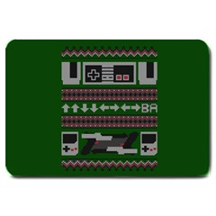Old School Ugly Holiday Christmas Green Background Large Doormat  by Onesevenart