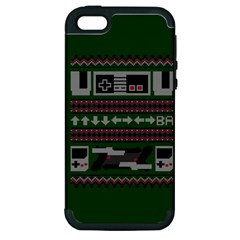 Old School Ugly Holiday Christmas Green Background Apple Iphone 5 Hardshell Case (pc+silicone) by Onesevenart