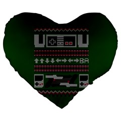 Old School Ugly Holiday Christmas Green Background Large 19  Premium Flano Heart Shape Cushions