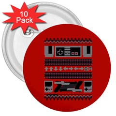 Old School Ugly Holiday Christmas Red Background 3  Buttons (10 Pack)  by Onesevenart