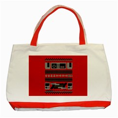 Old School Ugly Holiday Christmas Red Background Classic Tote Bag (red) by Onesevenart