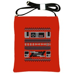 Old School Ugly Holiday Christmas Red Background Shoulder Sling Bags by Onesevenart