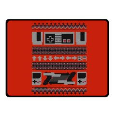 Old School Ugly Holiday Christmas Red Background Fleece Blanket (small) by Onesevenart