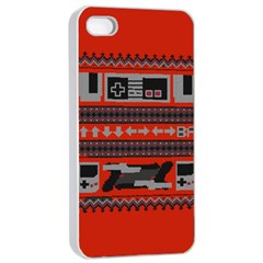 Old School Ugly Holiday Christmas Red Background Apple Iphone 4/4s Seamless Case (white) by Onesevenart