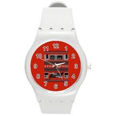 Old School Ugly Holiday Christmas Red Background Round Plastic Sport Watch (m) by Onesevenart