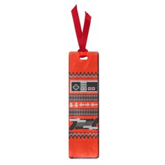 Old School Ugly Holiday Christmas Red Background Small Book Marks by Onesevenart