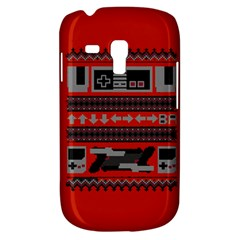 Old School Ugly Holiday Christmas Red Background Samsung Galaxy S3 MINI I8190 Hardshell Case by Onesevenart