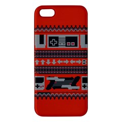Old School Ugly Holiday Christmas Red Background Apple Iphone 5 Premium Hardshell Case by Onesevenart