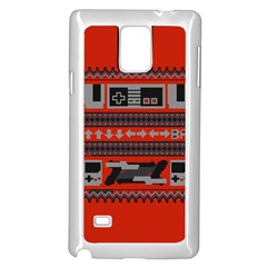 Old School Ugly Holiday Christmas Red Background Samsung Galaxy Note 4 Case (white) by Onesevenart