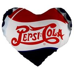 Pepsi Cola Large 19  Premium Heart Shape Cushions by Onesevenart