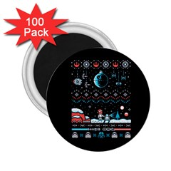 That Snow Moon Star Wars  Ugly Holiday Christmas Black Background 2 25  Magnets (100 Pack)  by Onesevenart