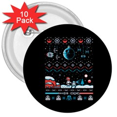 That Snow Moon Star Wars  Ugly Holiday Christmas Black Background 3  Buttons (10 Pack)  by Onesevenart