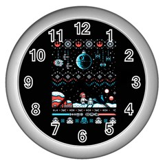 That Snow Moon Star Wars  Ugly Holiday Christmas Black Background Wall Clocks (silver)  by Onesevenart