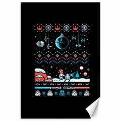 That Snow Moon Star Wars  Ugly Holiday Christmas Black Background Canvas 12  X 18   by Onesevenart