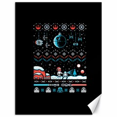 That Snow Moon Star Wars  Ugly Holiday Christmas Black Background Canvas 18  X 24   by Onesevenart