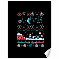 That Snow Moon Star Wars  Ugly Holiday Christmas Black Background Canvas 36  X 48   by Onesevenart