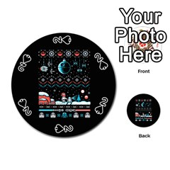 That Snow Moon Star Wars  Ugly Holiday Christmas Black Background Playing Cards 54 (round)  by Onesevenart