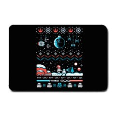 That Snow Moon Star Wars  Ugly Holiday Christmas Black Background Small Doormat  by Onesevenart