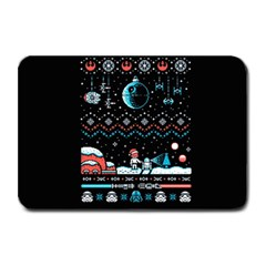 That Snow Moon Star Wars  Ugly Holiday Christmas Black Background Plate Mats by Onesevenart