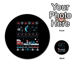 That Snow Moon Star Wars  Ugly Holiday Christmas Black Background Multi Purpose Cards (round)  by Onesevenart