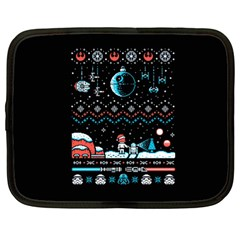 That Snow Moon Star Wars  Ugly Holiday Christmas Black Background Netbook Case (large) by Onesevenart