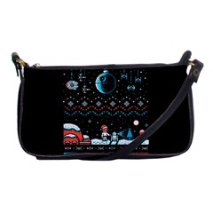 That Snow Moon Star Wars  Ugly Holiday Christmas Black Background Shoulder Clutch Bags by Onesevenart