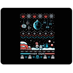 That Snow Moon Star Wars  Ugly Holiday Christmas Black Background Fleece Blanket (medium)  by Onesevenart