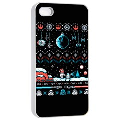 That Snow Moon Star Wars  Ugly Holiday Christmas Black Background Apple Iphone 4/4s Seamless Case (white) by Onesevenart