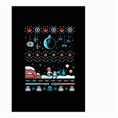 That Snow Moon Star Wars  Ugly Holiday Christmas Black Background Small Garden Flag (two Sides) by Onesevenart