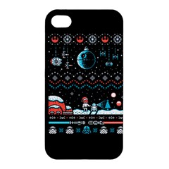 That Snow Moon Star Wars  Ugly Holiday Christmas Black Background Apple Iphone 4/4s Premium Hardshell Case by Onesevenart