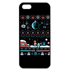 That Snow Moon Star Wars  Ugly Holiday Christmas Black Background Apple Iphone 5 Seamless Case (black) by Onesevenart