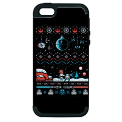 That Snow Moon Star Wars  Ugly Holiday Christmas Black Background Apple Iphone 5 Hardshell Case (pc+silicone) by Onesevenart