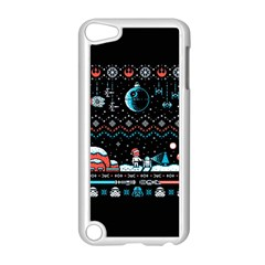 That Snow Moon Star Wars  Ugly Holiday Christmas Black Background Apple Ipod Touch 5 Case (white) by Onesevenart