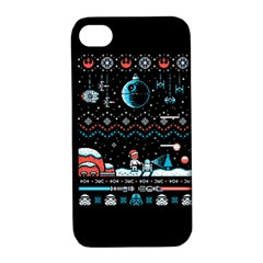 That Snow Moon Star Wars  Ugly Holiday Christmas Black Background Apple Iphone 4/4s Hardshell Case With Stand by Onesevenart