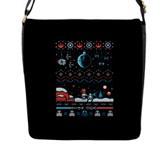 That Snow Moon Star Wars  Ugly Holiday Christmas Black Background Flap Messenger Bag (l)  by Onesevenart