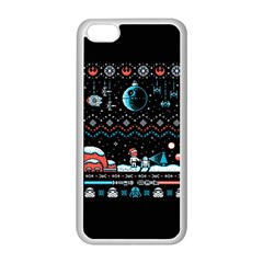 That Snow Moon Star Wars  Ugly Holiday Christmas Black Background Apple Iphone 5c Seamless Case (white) by Onesevenart