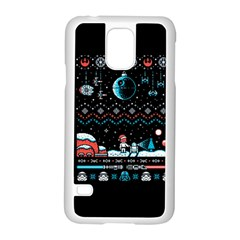 That Snow Moon Star Wars  Ugly Holiday Christmas Black Background Samsung Galaxy S5 Case (white) by Onesevenart