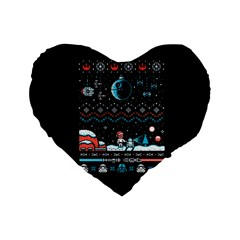 That Snow Moon Star Wars  Ugly Holiday Christmas Black Background Standard 16  Premium Flano Heart Shape Cushions by Onesevenart
