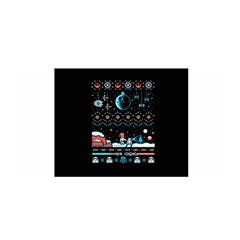 That Snow Moon Star Wars  Ugly Holiday Christmas Black Background Satin Wrap by Onesevenart