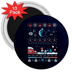 That Snow Moon Star Wars  Ugly Holiday Christmas Blue Background 3  Magnets (10 Pack)  by Onesevenart