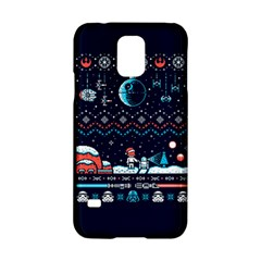 That Snow Moon Star Wars  Ugly Holiday Christmas Blue Background Samsung Galaxy S5 Hardshell Case  by Onesevenart