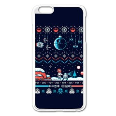 That Snow Moon Star Wars  Ugly Holiday Christmas Blue Background Apple Iphone 6 Plus/6s Plus Enamel White Case by Onesevenart