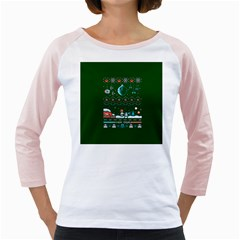 That Snow Moon Star Wars  Ugly Holiday Christmas Green Background Girly Raglans by Onesevenart