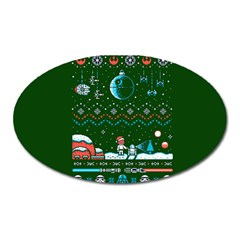 That Snow Moon Star Wars  Ugly Holiday Christmas Green Background Oval Magnet by Onesevenart