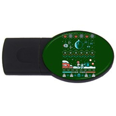 That Snow Moon Star Wars  Ugly Holiday Christmas Green Background Usb Flash Drive Oval (4 Gb)  by Onesevenart