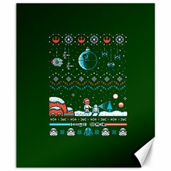 That Snow Moon Star Wars  Ugly Holiday Christmas Green Background Canvas 8  x 10  by Onesevenart