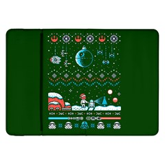 That Snow Moon Star Wars  Ugly Holiday Christmas Green Background Samsung Galaxy Tab 8 9  P7300 Flip Case by Onesevenart