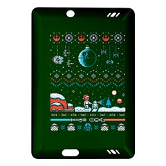 That Snow Moon Star Wars  Ugly Holiday Christmas Green Background Amazon Kindle Fire Hd (2013) Hardshell Case by Onesevenart
