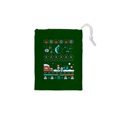 That Snow Moon Star Wars  Ugly Holiday Christmas Green Background Drawstring Pouches (xs)  by Onesevenart